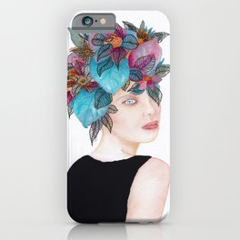Woman in flowers, watercolor 4 iPhone Case