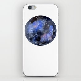 Watercolor Galaxy with Snowflakes iPhone Skin