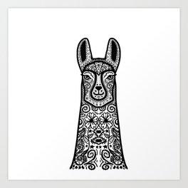 LLama Lines Mandala Art Print