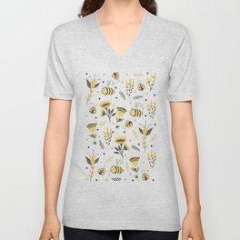 Bees and ladybugs. Gold and black Unisex V-Neck