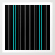 Charcoal Gray/Teal/Black Vertical Stripes Art Print