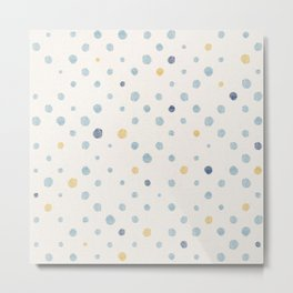 LOTS OF DOTS / milky white / phthalo blue / yellow ochre Metal Print