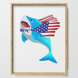 america shark 4th of july Serving Tray