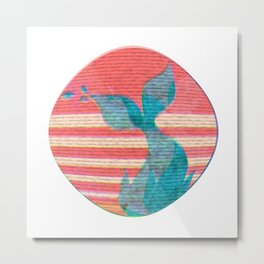 Whale tail in the striped sun Metal Print