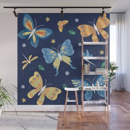 Colorful retro butterflies and dragon flies patten Wall Mural