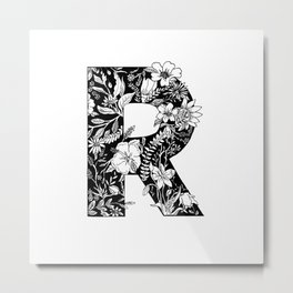 Floral Letter R Metal Print