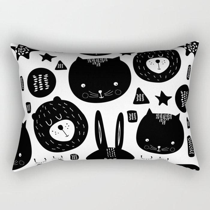 Black and White Animals Rectangular Pillow