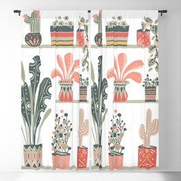 House Plants Pink-Green Blackout Curtain