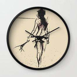 Bikini Girl - sexy conte, abstract erotic nude, kinky topless brunette at beach, hot slim naked body Wall Clock