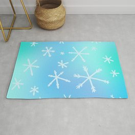 Unique Snowflakes on Blue Gradient Background Rug