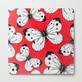 Cabbage butterfly pattern on red Metal Print