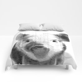 Black and white pig portrait Comforters