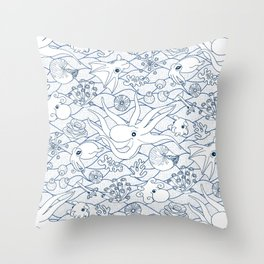 Cephalopods: White and Blue Throw Pillow