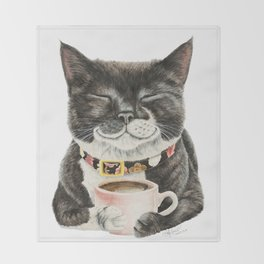 Purrfect Morning , cat with her coffee cup Throw Blanket
