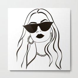 Retro Girl in Sunglasses  Metal Print