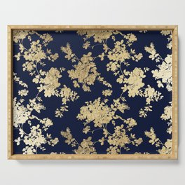 Elegant vintage navy blue faux gold flowers Serving Tray