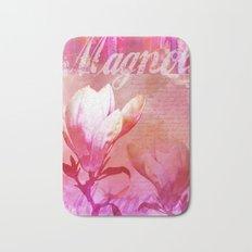 Magnolia flower pink orange Bath Mat