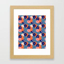 Hibiscus Trionium Wood Block Pattern Framed Art Print
