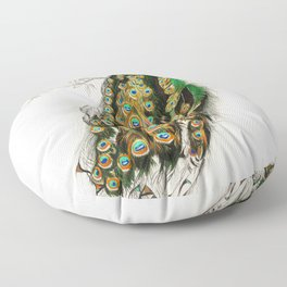 Indian peafowl (Pavo Cristatus) illustrated by Charles Dessalines D' Orbigny (1806-1876) Floor Pillow
