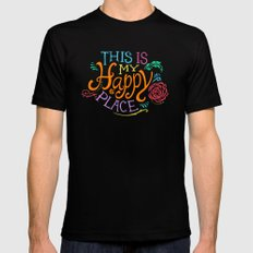 Happy Place MEDIUM Mens Fitted Tee Black
