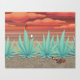 vermilion flycatchers, agave americana, & coral snake Canvas Print