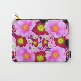 Black Design & Pink Roses Shasta Daisies Art Abstract Carry-All Pouch