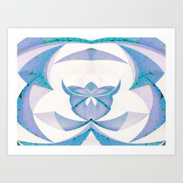 Origami Orchid Blue and White Art Print