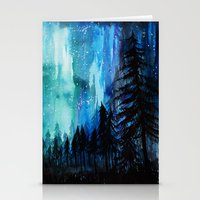 northern lights Stationery Cards featuring Northern Lights by VivianLohArts