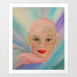 Bald is Beauty with Green Eyes Art Print