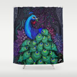 Peacock Watcher Shower Curtain
