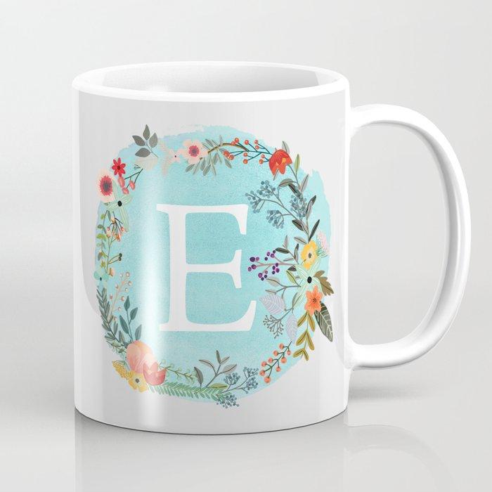 personalized monogram initial letter e blue watercolor flower wreath artwork coffee mug