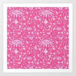Chinoiserie Vines in Berry + Pink Art Print