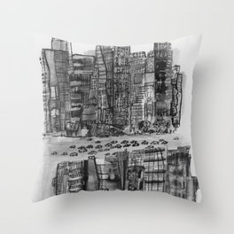 NYC gray Throw Pillow
