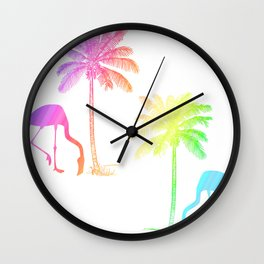 Flamingo Tropical Palm Trees Rainbow  Wall Clock
