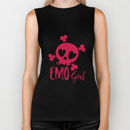 Emo Girl Pink Skull Emotional Biker Tank