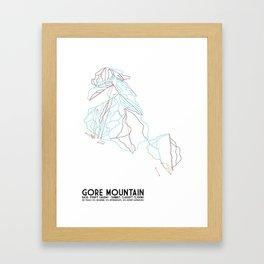 Gore Mountain, NY - Minimalist Trail Art Framed Art Print
