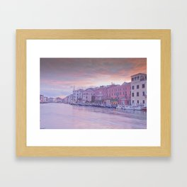 Venice in pastel, pink soft fluffy clouds over Venice, Italy Framed Art Print