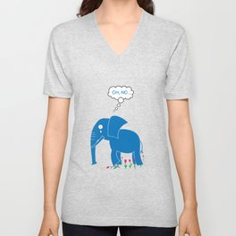 Sad Elephant Unisex V-Neck