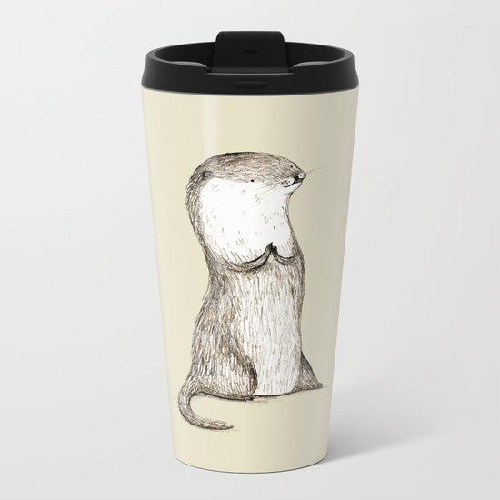 Sitting Otter Metal Travel Mug