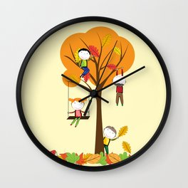 Children playing and autumn tree Wall Clock
