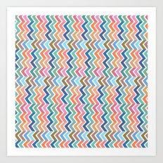 Modern whimsical pink orange blue zigzag chevron Art Print