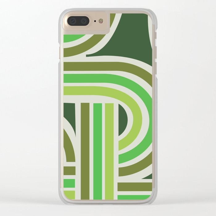 70's Green Funky Clear iPhone Case