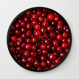 Pattern Of Red Cranberries Wall Clock