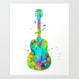 Watercolor Guitar Art Print