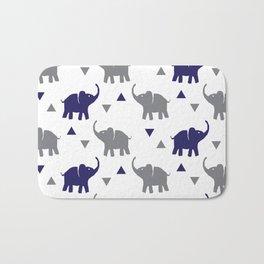 Elephants & Triangles - Gray / Navy Blue Bath Mat