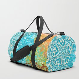 Indian boho pattern with ornament in blue, ornage and green Duffle Bag