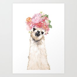 Llama with Beautiful Flowers Crown Art Print