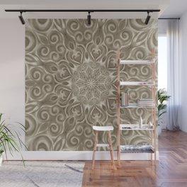 Beige swirl mandala Wall Mural
