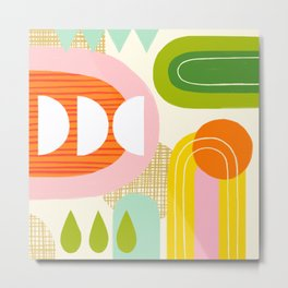 Rise and Shine - Retro Mod Abstract Design Metal Print