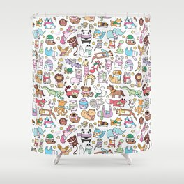 Winter Animals with Scarves Doodle Shower Curtain